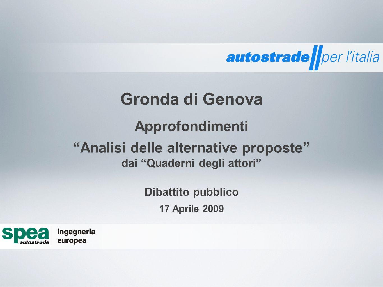 Approfondimenti Analisi delle alternative proposte dai Quaderni degli attori Gronda di Genova Dibattito pubblico 17 Aprile 2009