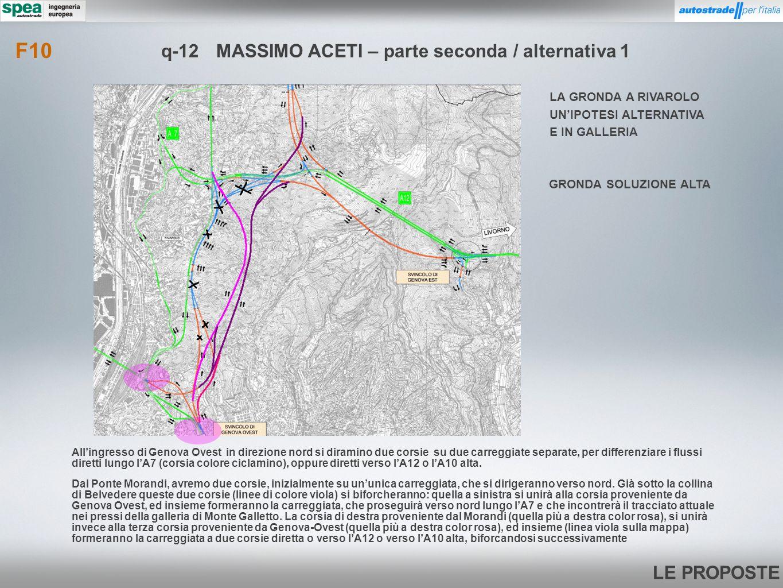 LE PROPOSTE Dal Ponte Morandi, avremo due corsie, inizialmente su ununica carreggiata, che si dirigeranno verso nord. Già sotto la collina di Belveder