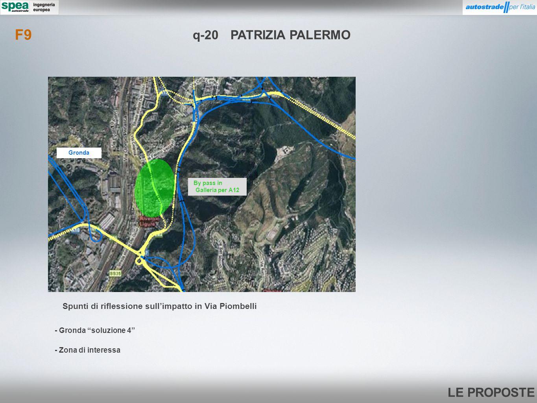 LE PROPOSTE q-20PATRIZIA PALERMO - Zona di interessa - Gronda soluzione 4 F9 By pass in Galleria per A12 Gronda Spunti di riflessione sullimpatto in V
