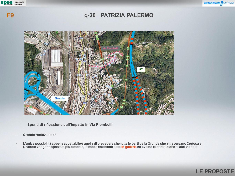 LE PROPOSTE q-20PATRIZIA PALERMO -Lunica possibilità appena accettabile è quella di prevedere che tutte le parti della Gronda che attraversano Certosa