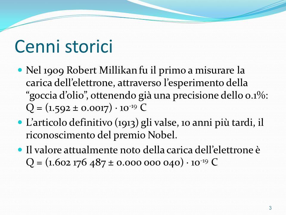 Cenni storici Nel 1909 Robert Millikan fu il primo a misurare la carica dellelettrone, attraverso lesperimento della goccia dolio, ottenendo già una p