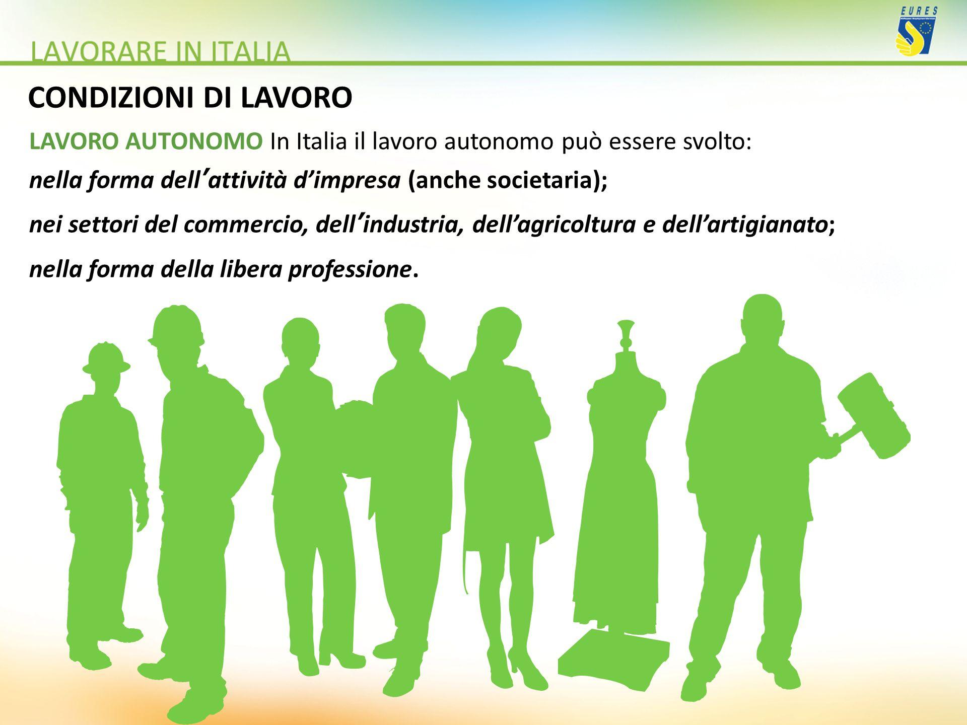 CONDIZIONI DI LAVORO LAVORO AUTONOMO In Italia il lavoro autonomo può essere svolto: nella forma dellattività dimpresa (anche societaria); nei settori