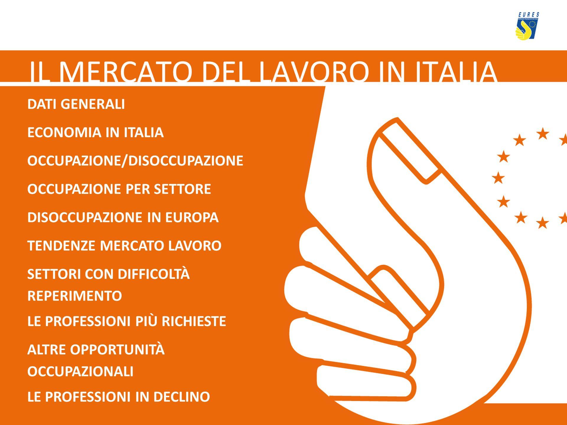 DATI GENERALI ECONOMIA IN ITALIA OCCUPAZIONE/DISOCCUPAZIONE OCCUPAZIONE PER SETTORE DISOCCUPAZIONE IN EUROPA TENDENZE MERCATO LAVORO SETTORI CON DIFFI