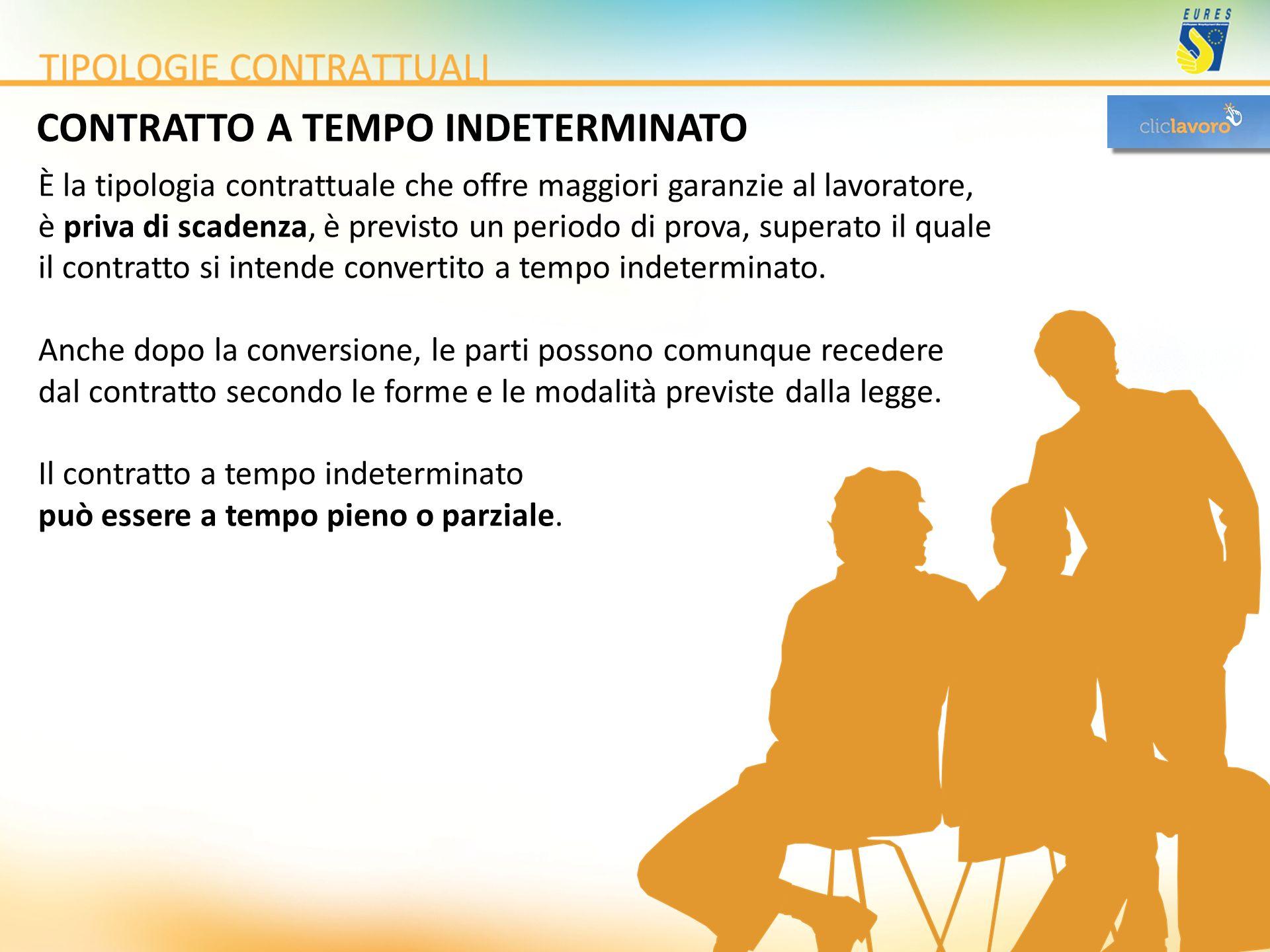 CONTRATTO A TEMPO INDETERMINATO È la tipologia contrattuale che offre maggiori garanzie al lavoratore, è priva di scadenza, è previsto un periodo di p