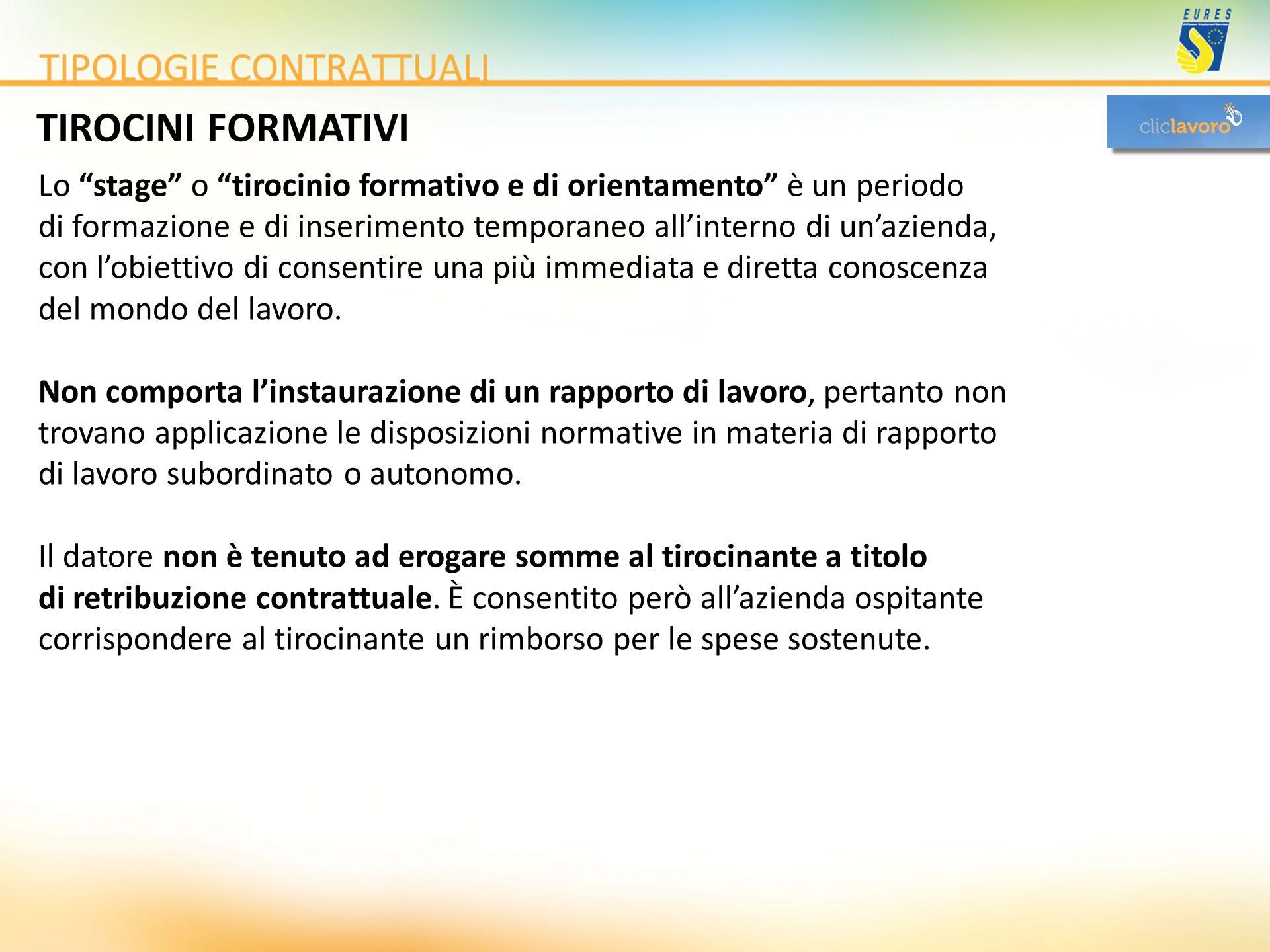 TIROCINI FORMATIVI Lo stage o tirocinio formativo e di orientamento è un periodo di formazione e di inserimento temporaneo allinterno di unazienda, co