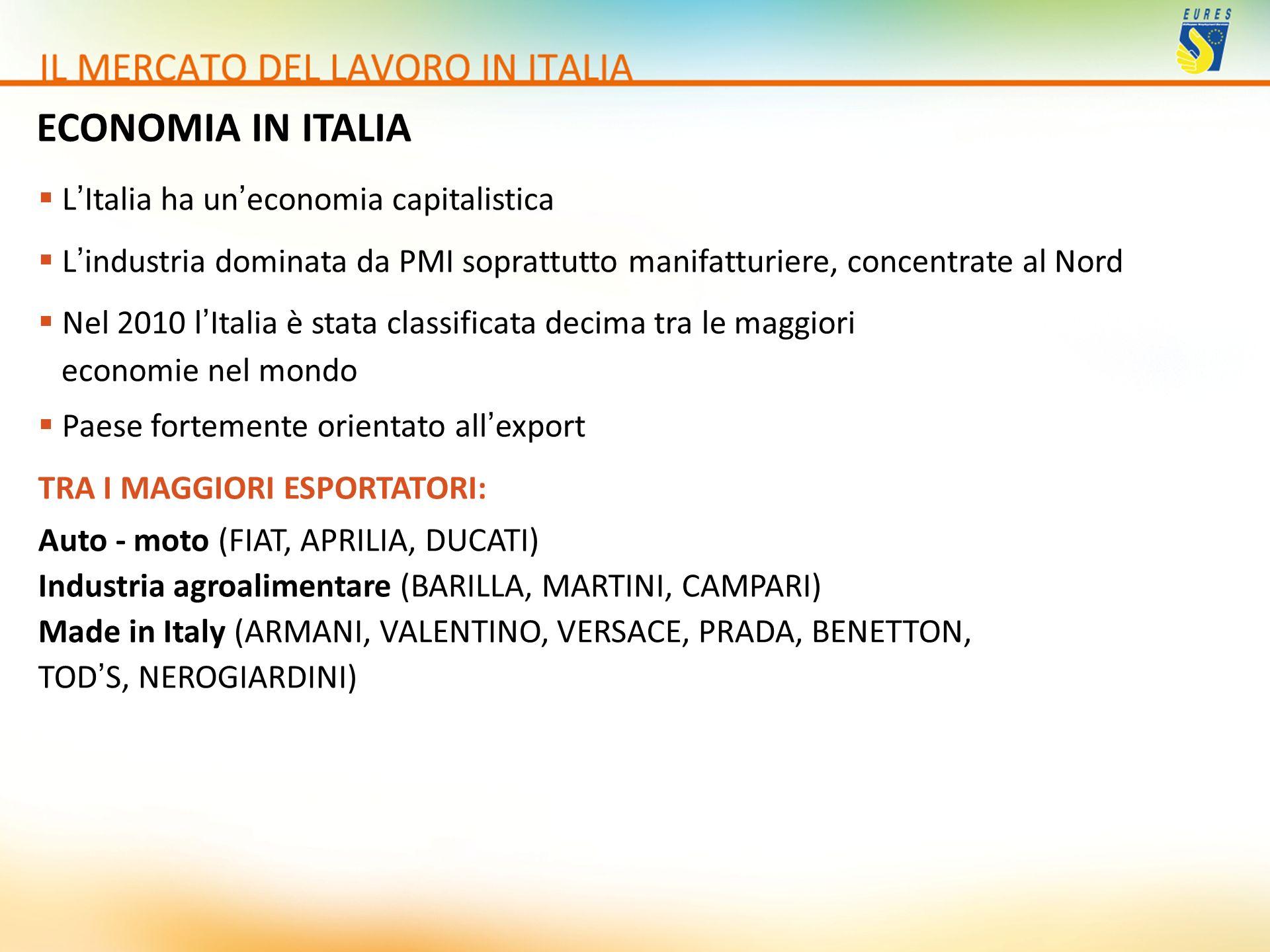 ECONOMIA IN ITALIA LItalia ha uneconomia capitalistica Lindustria dominata da PMI soprattutto manifatturiere, concentrate al Nord Nel 2010 lItalia è s