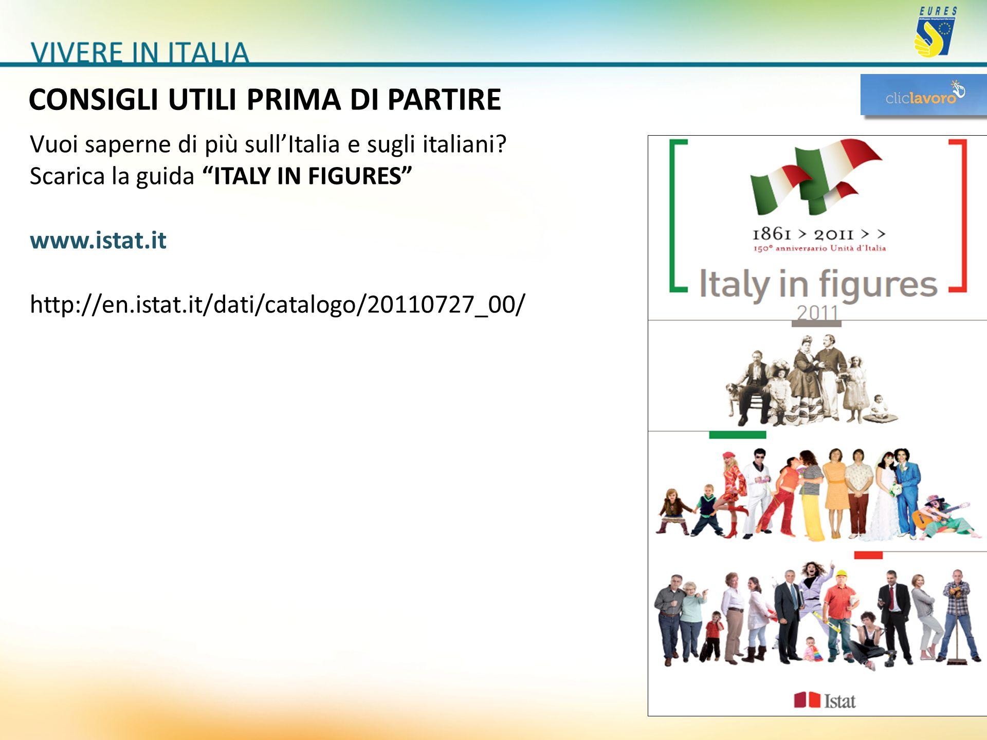 CONSIGLI UTILI PRIMA DI PARTIRE Vuoi saperne di più sullItalia e sugli italiani? Scarica la guida ITALY IN FIGURES www.istat.it http://en.istat.it/dat