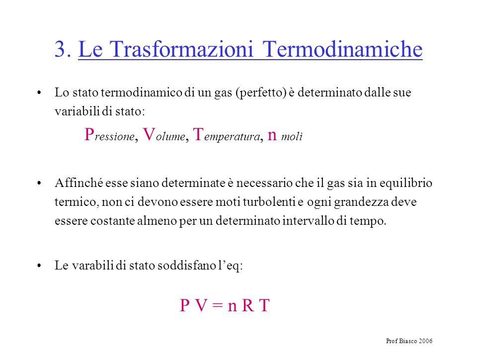 Prof Biasco 2006 3. Le Trasformazioni Termodinamiche Lo stato termodinamico di un gas (perfetto) è determinato dalle sue variabili di stato: P ression