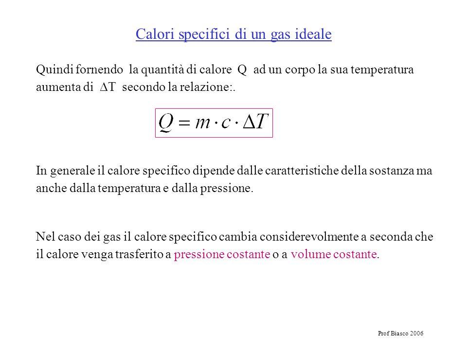 Prof Biasco 2006 Calori specifici di un gas ideale Quindi fornendo la quantità di calore Q ad un corpo la sua temperatura aumenta di T secondo la rela