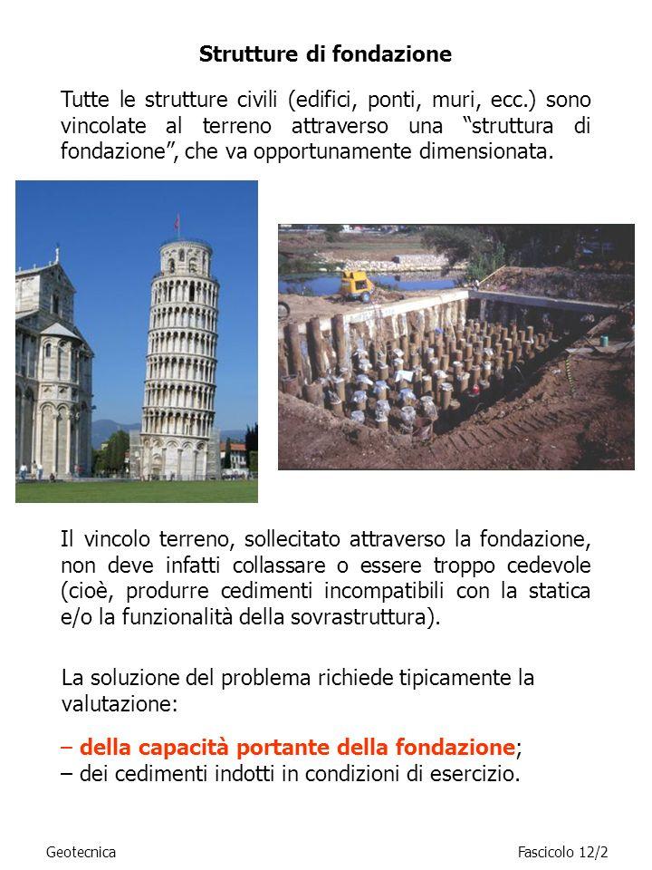 GeotecnicaFascicolo 12/2 Tutte le strutture civili (edifici, ponti, muri, ecc.) sono vincolate al terreno attraverso una struttura di fondazione, che