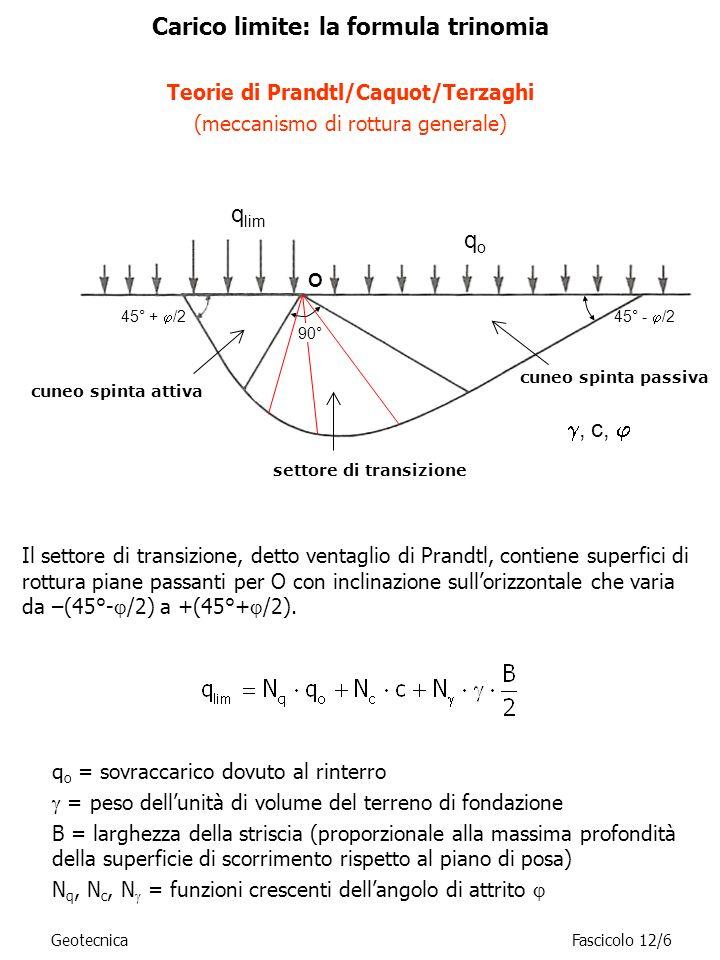 GeotecnicaFascicolo 12/17 Determinazione del coefficiente N c Ipotizzando che il mezzo sia ancora privo di peso proprio ( =0) ma che sia dotato di attrito e di coesione è possibile riportarsi al caso precedente (coesione nulla) applicando il teorema degli stati corrispondenti (o di Caquot): un mezzo dotato di attrito e coesione equivale ad un mezzo di pari attrito ma privo di coesione, nel quale però tutte le componenti normali di tensione siano incrementate della quantità ccot c ccot Visto che in questo caso si stanno analizzando i soli effetti dellintroduzione del termine coesivo, q o =0.