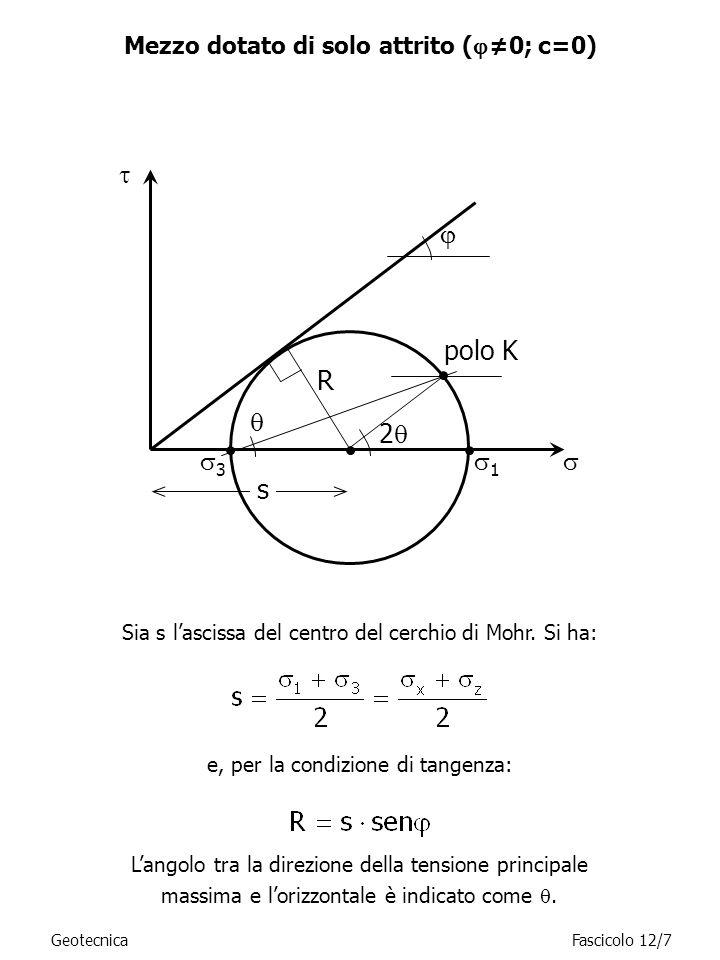 GeotecnicaFascicolo 12/7 Mezzo dotato di solo attrito ( 0; c=0) 1 3 R s 2 Sia s lascissa del centro del cerchio di Mohr. Si ha: e, per la condizione d