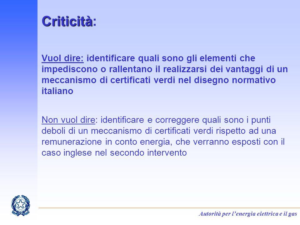 Autorità per lenergia elettrica e il gas Criticità Criticità: Vuol dire: identificare quali sono gli elementi che impediscono o rallentano il realizza