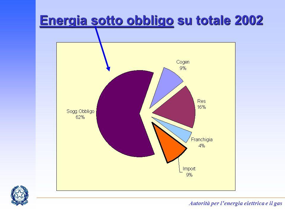 Autorità per lenergia elettrica e il gas Energia sotto obbligo su totale 2002