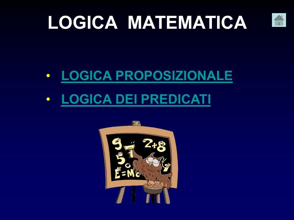 LOGICA MATEMATICA LOGICA PROPOSIZIONALE LOGICA DEI PREDICATI