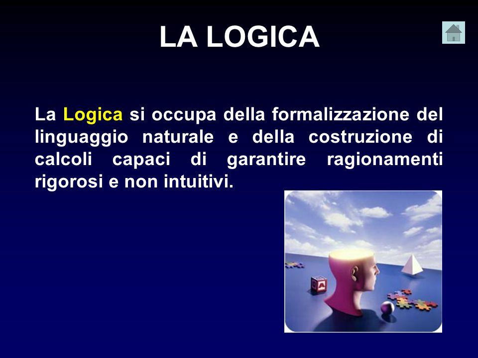 LA LOGICA La Logica si occupa della formalizzazione del linguaggio naturale e della costruzione di calcoli capaci di garantire ragionamenti rigorosi e