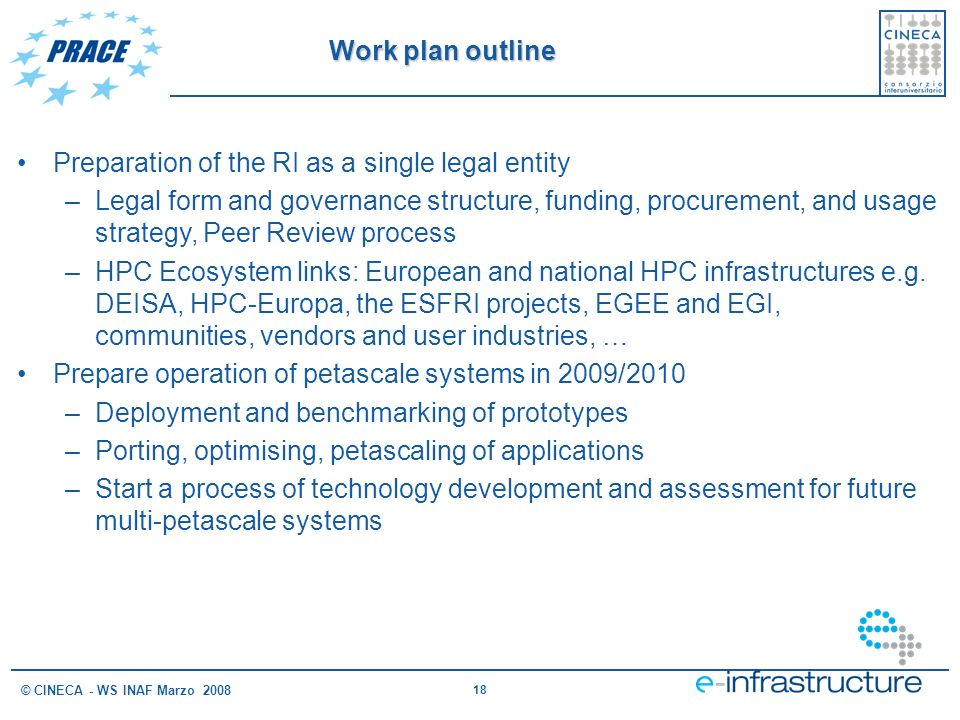 18 © CINECA - WS INAF Marzo 2008 Preparation of the RI as a single legal entity –Legal form and governance structure, funding, procurement, and usage