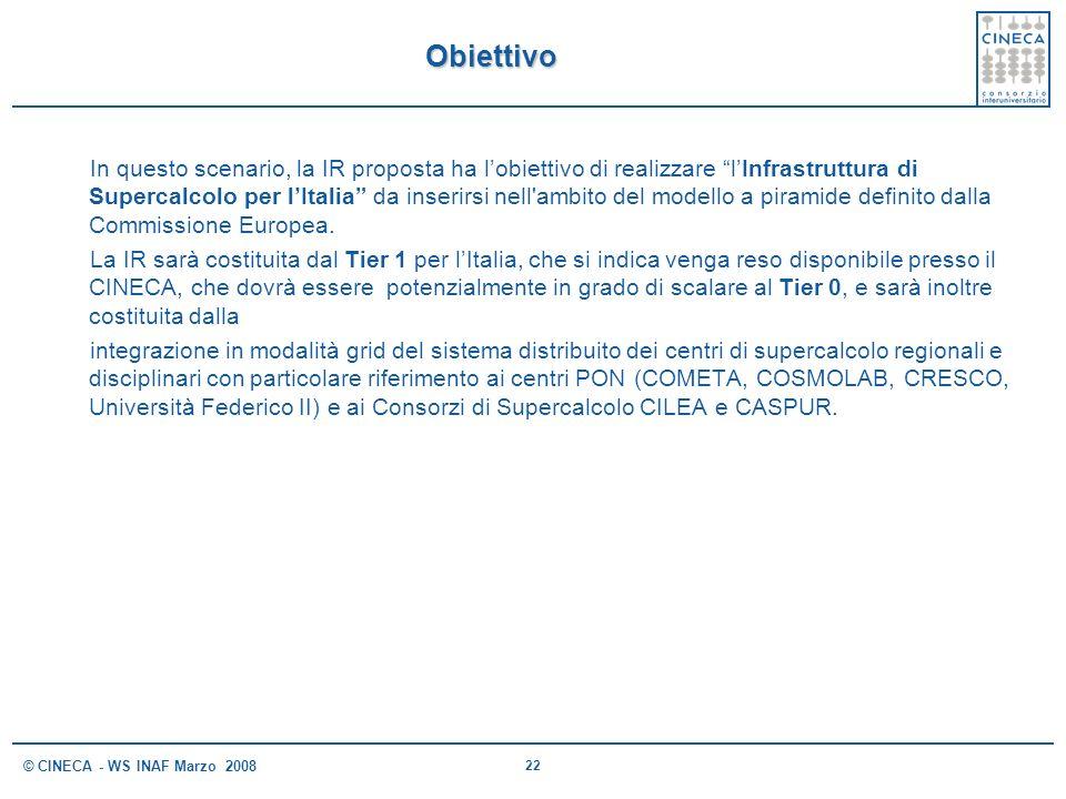 22 © CINECA - WS INAF Marzo 2008 Obiettivo In questo scenario, la IR proposta ha lobiettivo di realizzare lInfrastruttura di Supercalcolo per lItalia