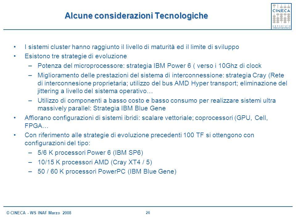 26 © CINECA - WS INAF Marzo 2008 Alcune considerazioni Tecnologiche I sistemi cluster hanno raggiunto il livello di maturità ed il limite di sviluppo