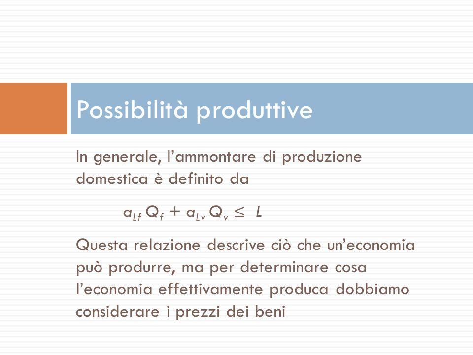 In generale, lammontare di produzione domestica è definito da a Lf Q f + a Lv Q v L Questa relazione descrive ciò che uneconomia può produrre, ma per