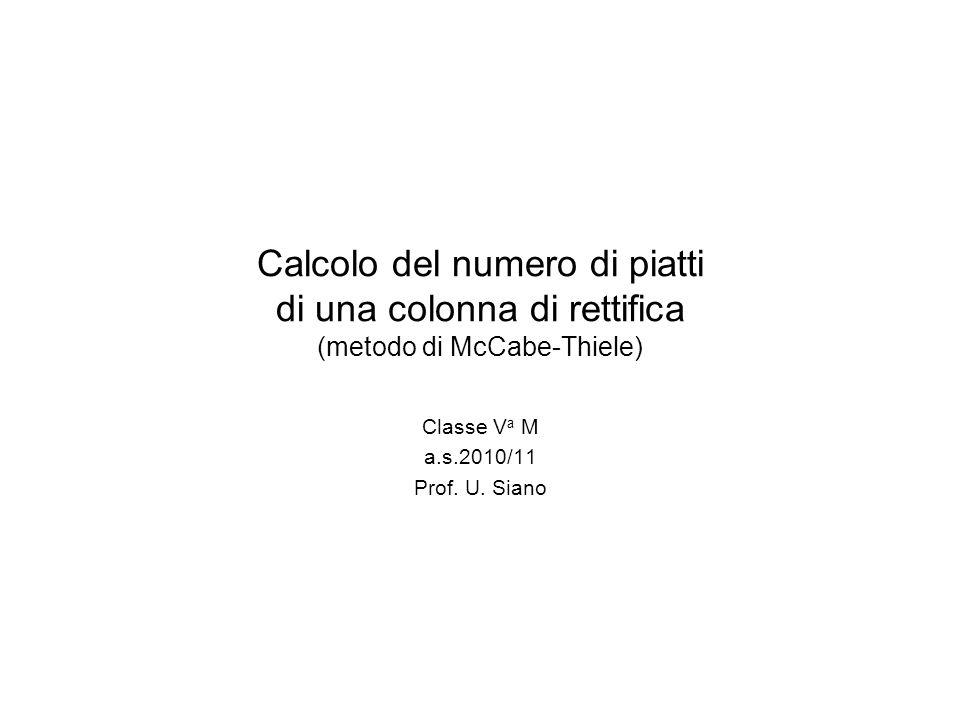 Calcolo del numero di piatti di una colonna di rettifica (metodo di McCabe-Thiele) Classe V a M a.s.2010/11 Prof. U. Siano