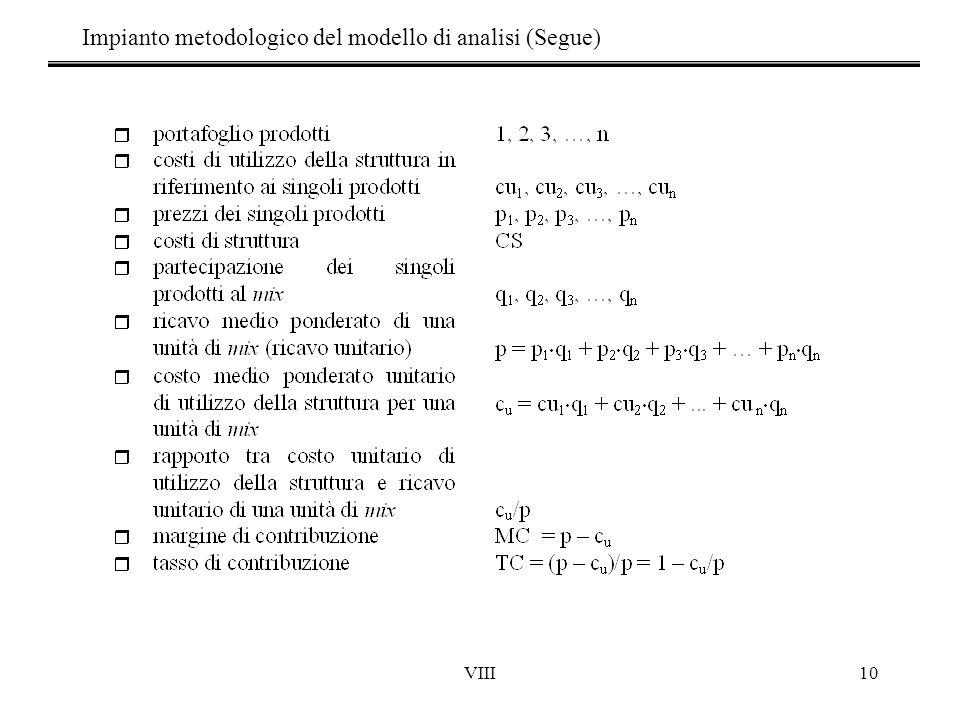 VIII10 Impianto metodologico del modello di analisi (Segue)