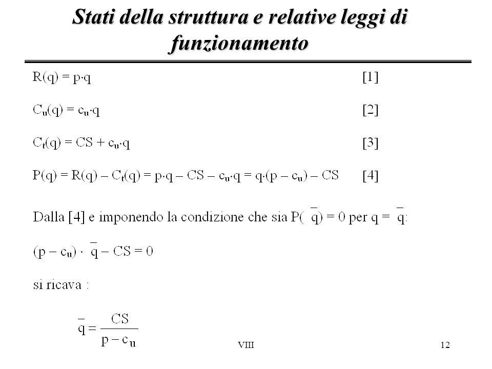 VIII12 Stati della struttura e relative leggi di funzionamento