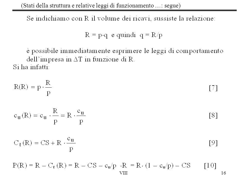 VIII16 (Stati della struttura e relative leggi di funzionamento …: segue)