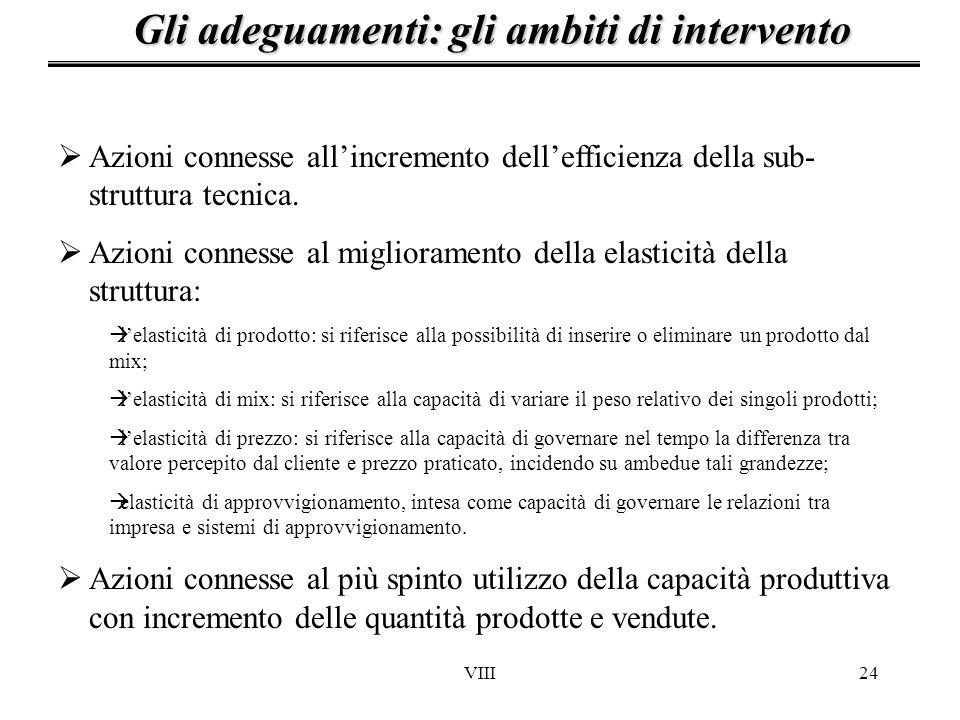 VIII24 Gli adeguamenti: gli ambiti di intervento Azioni connesse allincremento dellefficienza della sub- struttura tecnica. Azioni connesse al miglior
