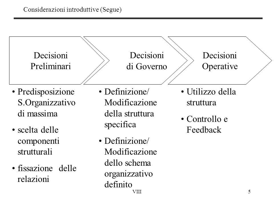 VIII5 Decisioni Preliminari Decisioni Operative Decisioni di Governo Predisposizione S.Organizzativo di massima scelta delle componenti strutturali fi