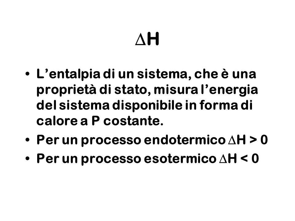 H Lentalpia di un sistema, che è una proprietà di stato, misura lenergia del sistema disponibile in forma di calore a P costante. Per un processo endo