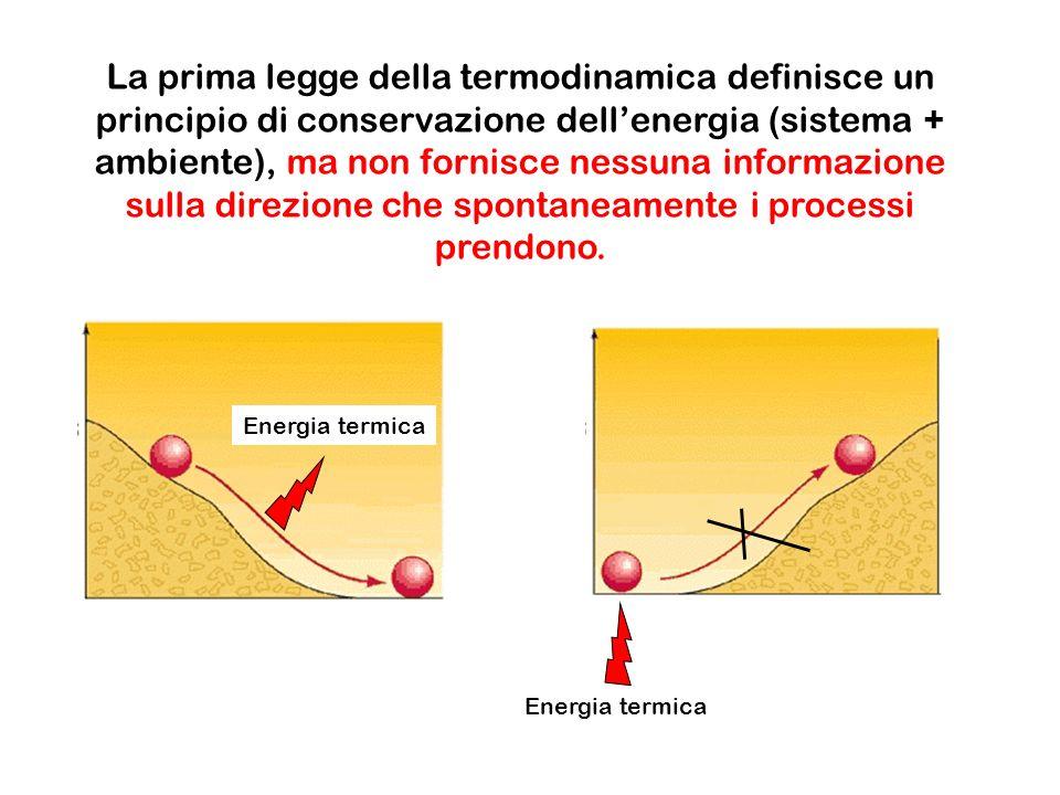 La prima legge della termodinamica definisce un principio di conservazione dellenergia (sistema + ambiente), ma non fornisce nessuna informazione sull