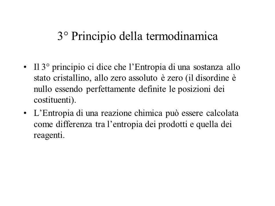 3° Principio della termodinamica Il 3° principio ci dice che lEntropia di una sostanza allo stato cristallino, allo zero assoluto è zero (il disordine