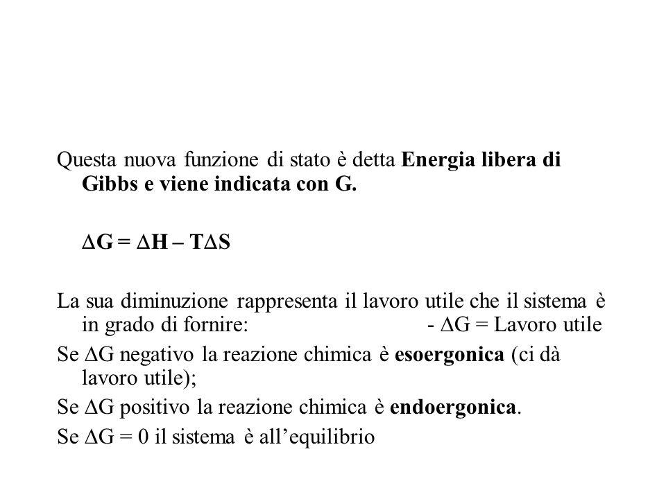 Questa nuova funzione di stato è detta Energia libera di Gibbs e viene indicata con G. G = H – T S La sua diminuzione rappresenta il lavoro utile che