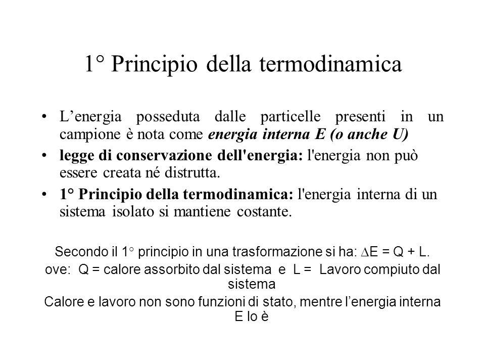 1° Principio della termodinamica Lenergia posseduta dalle particelle presenti in un campione è nota come energia interna E (o anche U) legge di conser