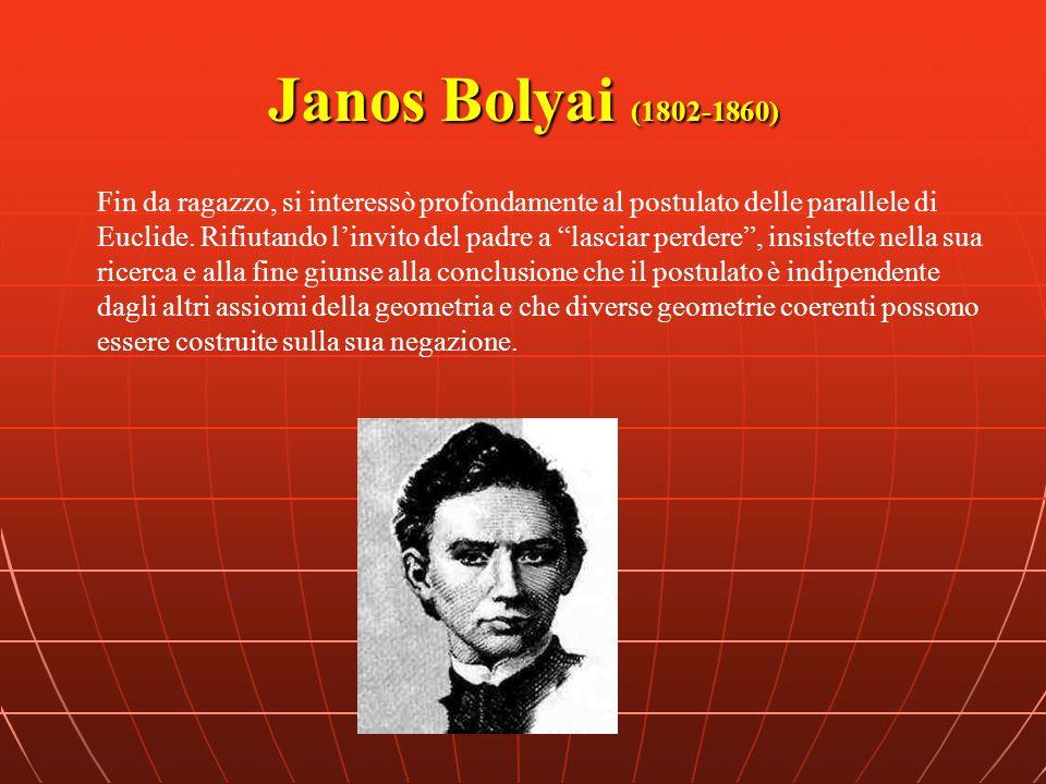 Janos Bolyai (1802-1860) Fin da ragazzo, si interessò profondamente al postulato delle parallele di Euclide. Rifiutando linvito del padre a lasciar pe