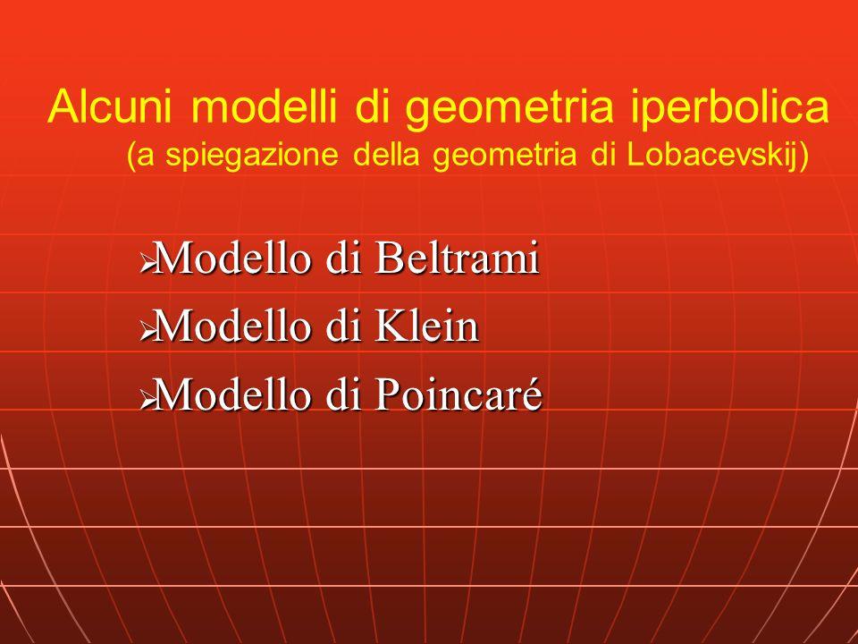 Alcuni modelli di geometria iperbolica (a spiegazione della geometria di Lobacevskij) Modello di Beltrami Modello di Beltrami Modello di Klein Modello