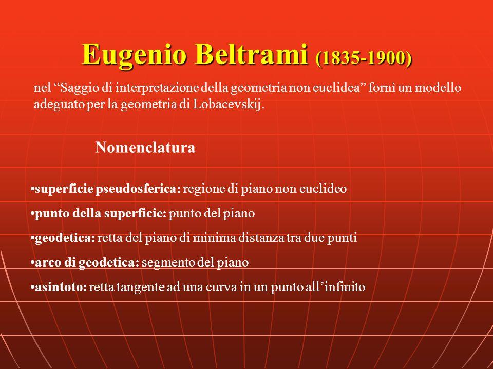 Eugenio Beltrami (1835-1900) superficie pseudosferica: regione di piano non euclideo punto della superficie: punto del piano geodetica: retta del pian