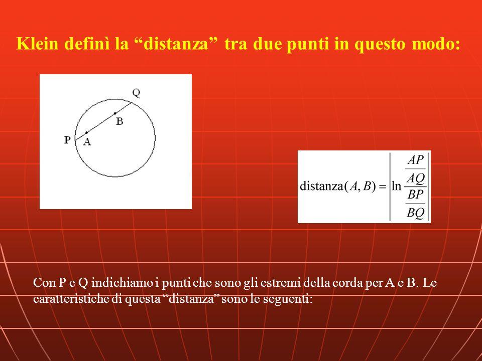 Klein definì la distanza tra due punti in questo modo: Con P e Q indichiamo i punti che sono gli estremi della corda per A e B. Le caratteristiche di
