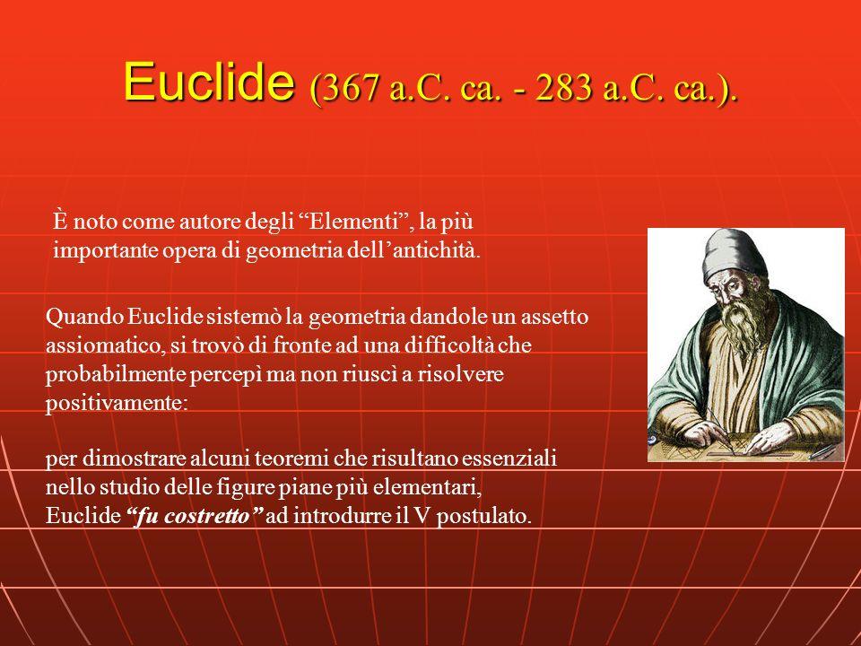 I Postulati di Euclide 1.Tra due segni (punti) qualsiasi è possibile tirare una retta 2.Si può prolungare una retta oltre i due segni indefinitamente 3.Dato un segno e una lunghezza, è possibile descrivere un cerchio 4.Tutti gli angoli retti sono uguali 5.