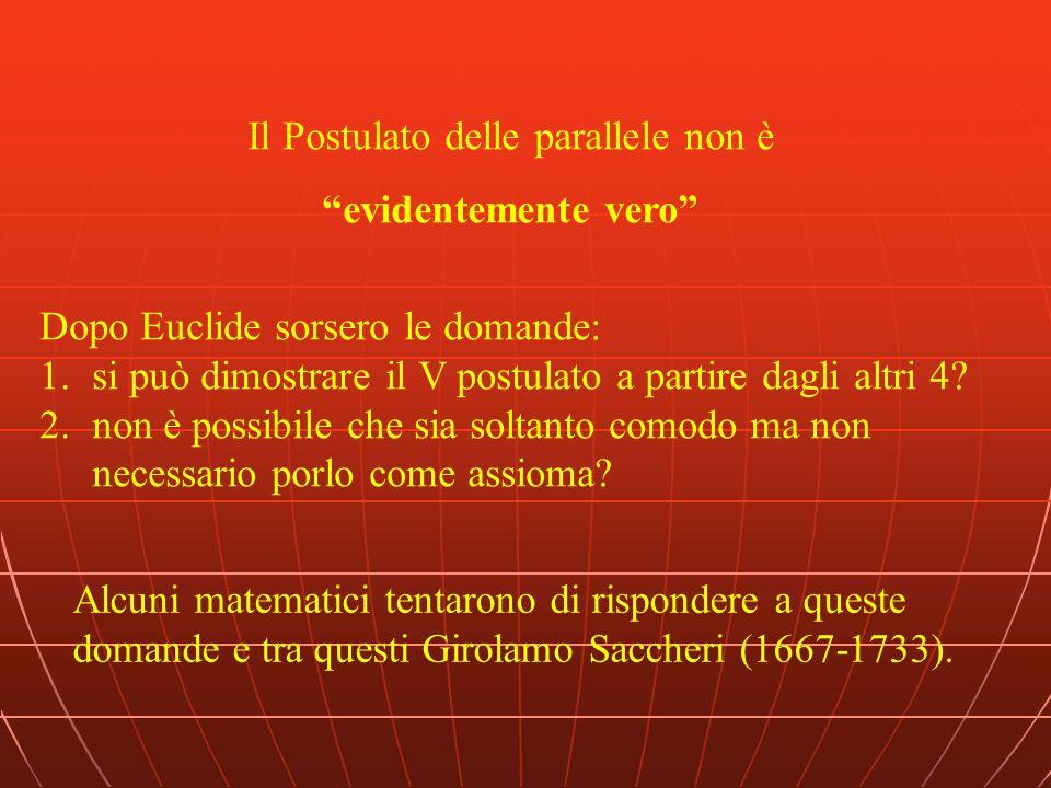 Il Postulato delle parallele non è evidentemente vero Dopo Euclide sorsero le domande: 1.si può dimostrare il V postulato a partire dagli altri 4? 2.n