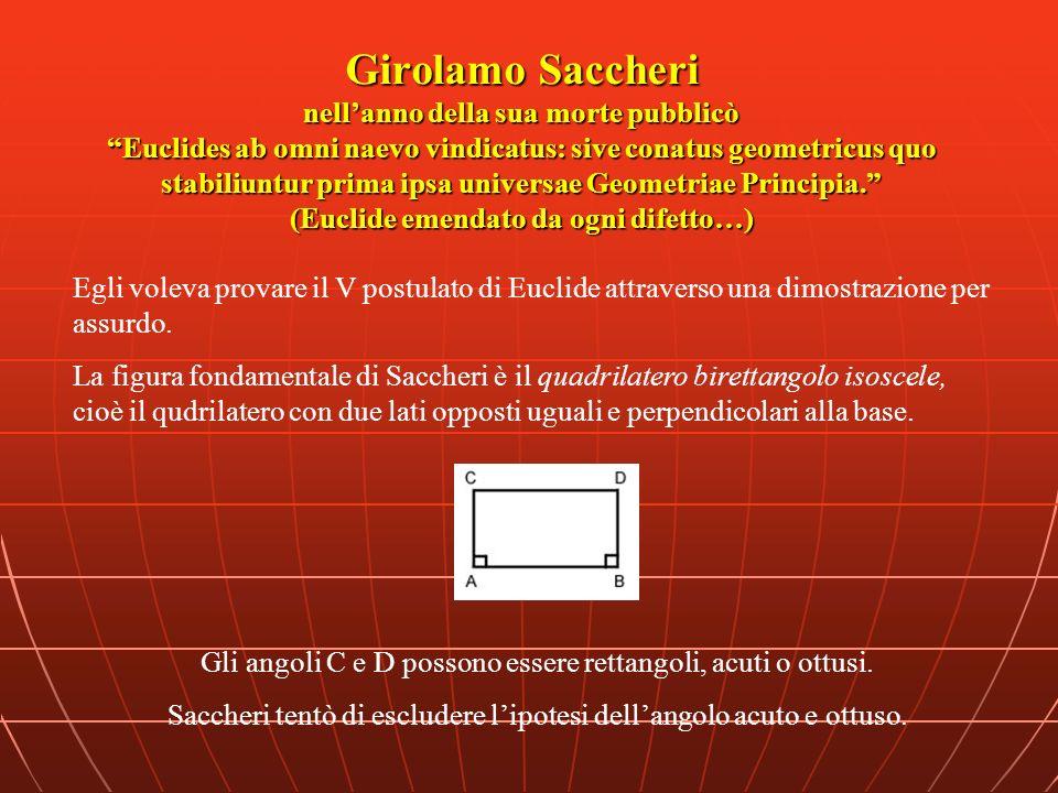 Girolamo Saccheri nellanno della sua morte pubblicò Euclides ab omni naevo vindicatus: sive conatus geometricus quo stabiliuntur prima ipsa universae