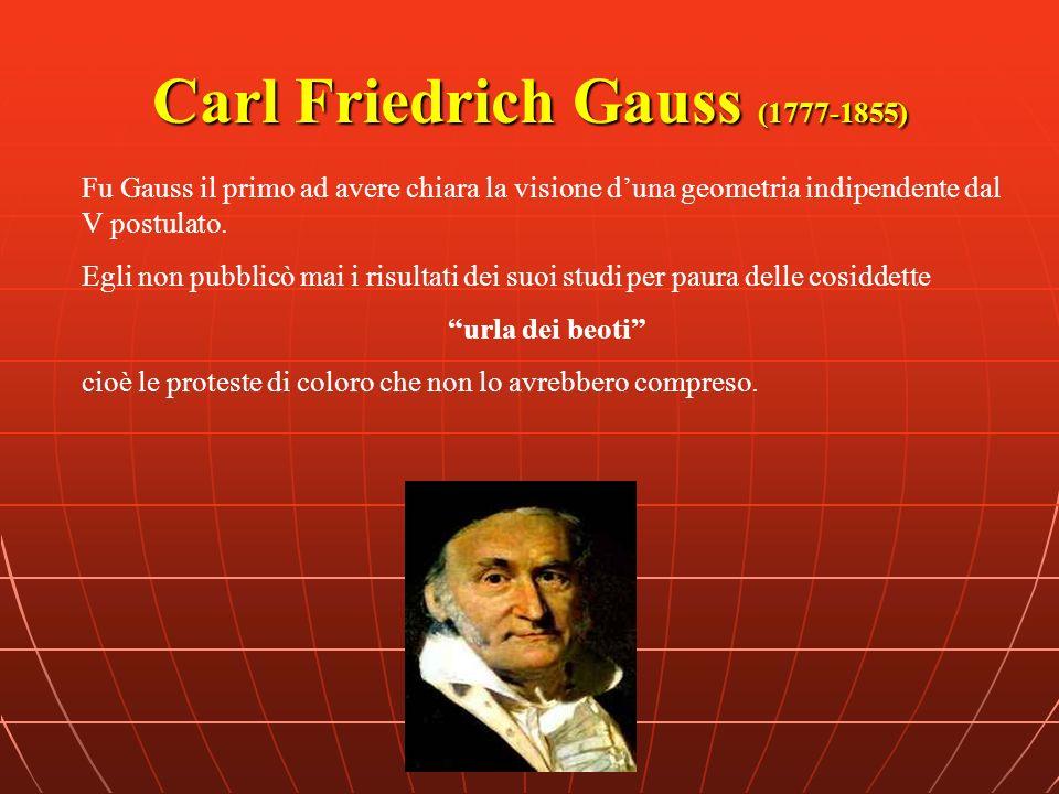 Carl Friedrich Gauss (1777-1855) Fu Gauss il primo ad avere chiara la visione duna geometria indipendente dal V postulato. Egli non pubblicò mai i ris