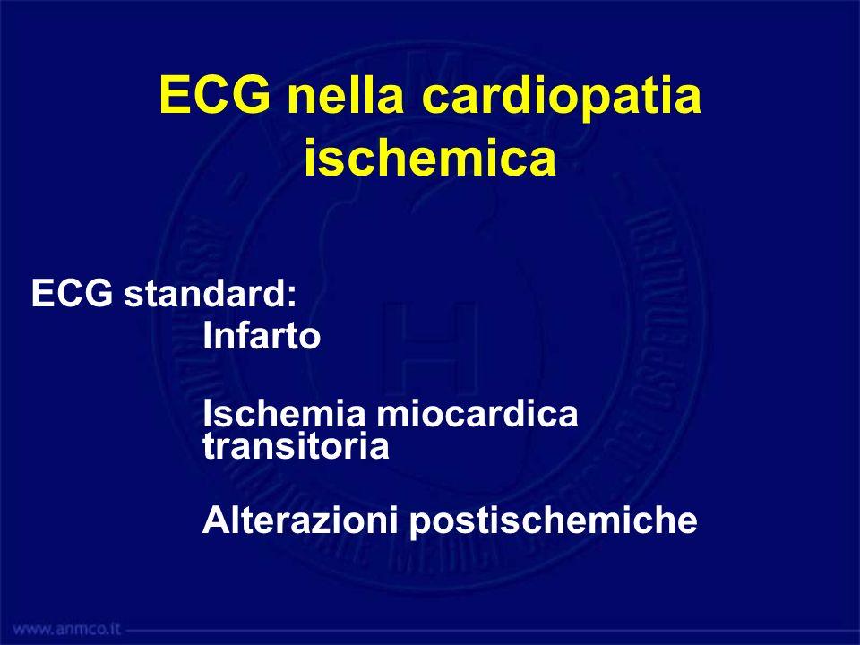 ECG nella cardiopatia ischemica ECG standard: Infarto Ischemia miocardica transitoria Alterazioni postischemiche