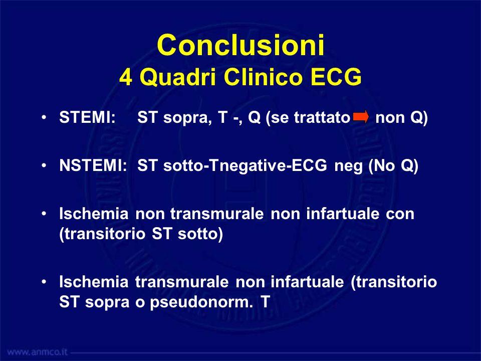 Conclusioni 4 Quadri Clinico ECG STEMI: ST sopra, T -, Q (se trattato non Q) NSTEMI: ST sotto-Tnegative-ECG neg (No Q) Ischemia non transmurale non in