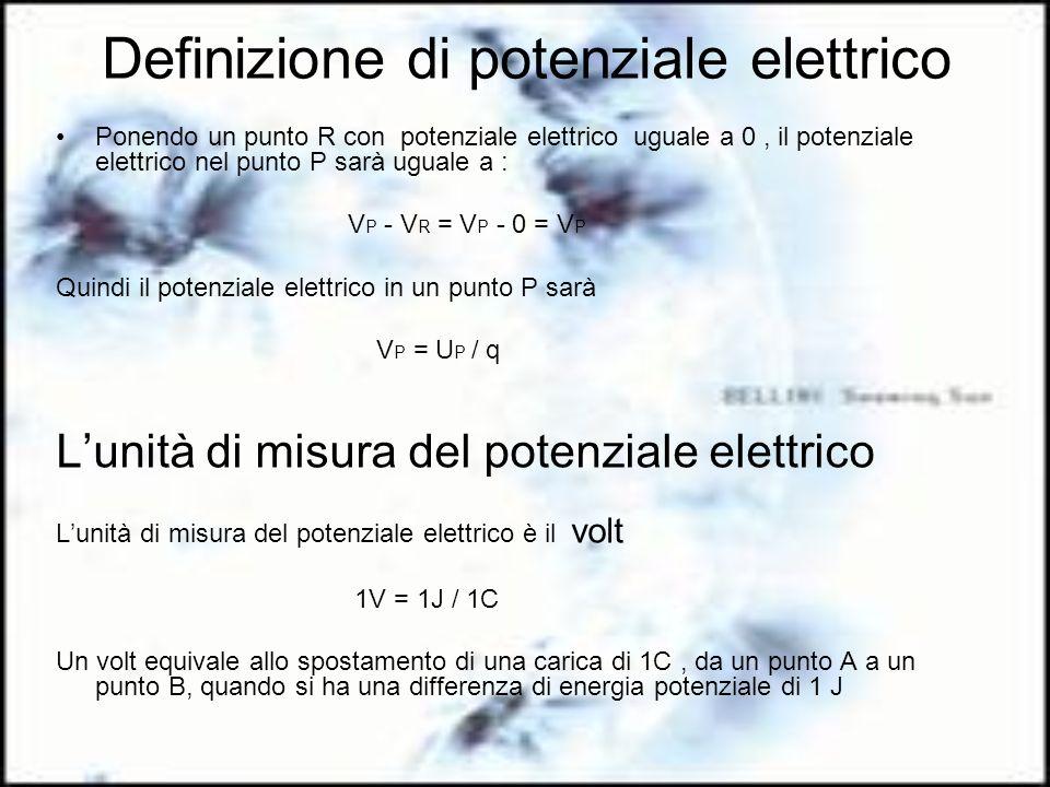 Definizione di potenziale elettrico Ponendo un punto R con potenziale elettrico uguale a 0, il potenziale elettrico nel punto P sarà uguale a : V P -