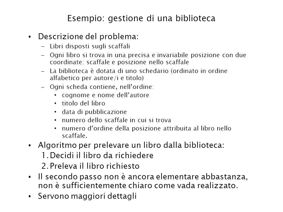 Esempio: gestione di una biblioteca Descrizione del problema: – Libri disposti sugli scaffali – Ogni libro si trova in una precisa e invariabile posiz