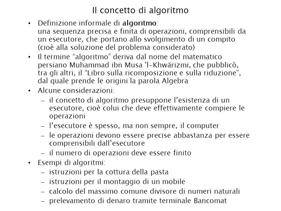 Esempio di algoritmo Algoritmo di cottura degli spaghetti: 1.Mettere lacqua sul fuoco 2.Attendere lebollizione 3.Mettere il sale 4.Buttare gli spaghetti 5.Attendere x minuti 6.Scolare la pasta Questo è un algoritmo puramente sequenziale, le operazioni vengono eseguite in un unico ordine, da 1 a 6 Ci sono più modi di risolvere lo stesso problema, quindi ci sono più algoritmi che portano allo stesso risultato.