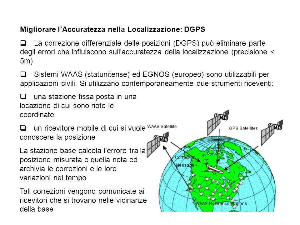 Migliorare lAccuratezza nella Localizzazione: DGPS La correzione differenziale delle posizioni (DGPS) può eliminare parte degli errori che influiscono