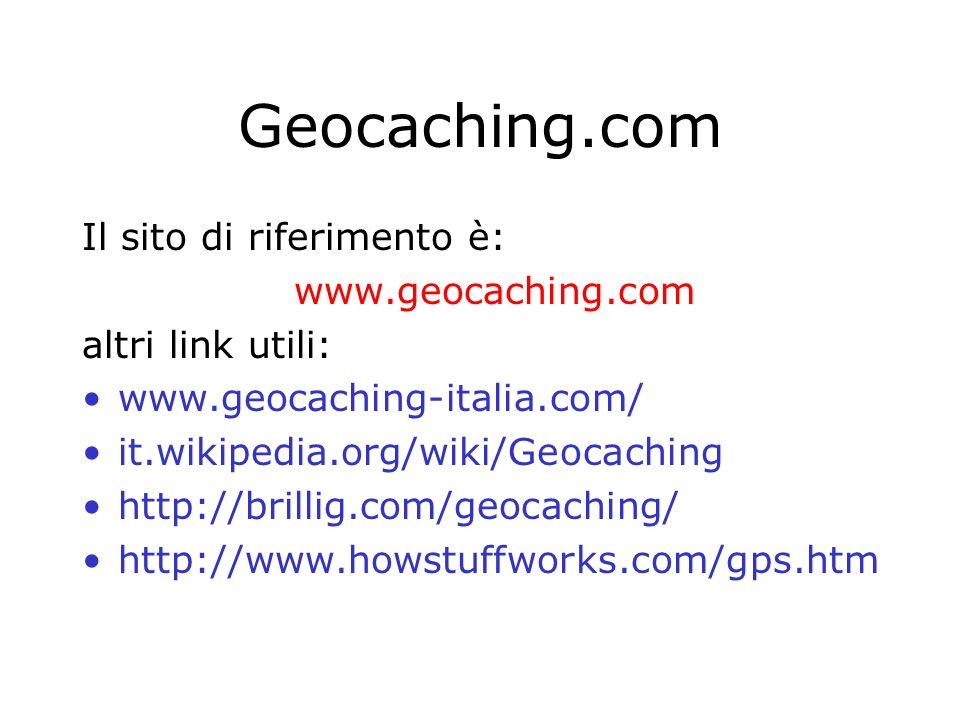 Geocaching.com Il sito di riferimento è: www.geocaching.com altri link utili: www.geocaching-italia.com/ it.wikipedia.org/wiki/Geocaching http://brill